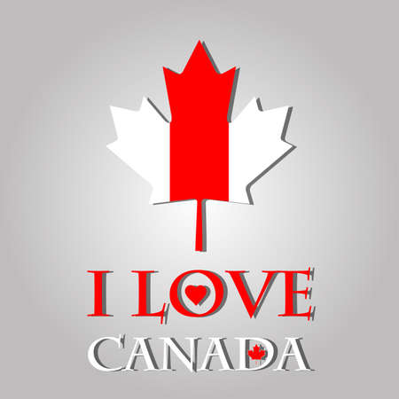 i love canada: I love Canada sign and labels on maple leaf flag