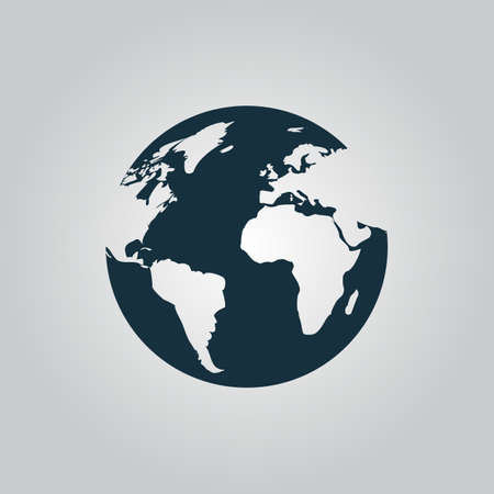 Globe earth icon on grey background