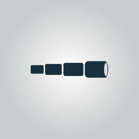 telescopic: Flat web icon, sign or button isolated on grey background. Illustration