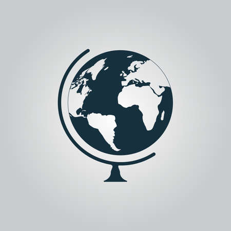 globe  the terrestrial ball: Flat web icon, sign or button isolated on grey background.  Illustration