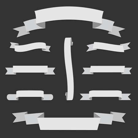 Big white Paper origami Web Ribbons Set