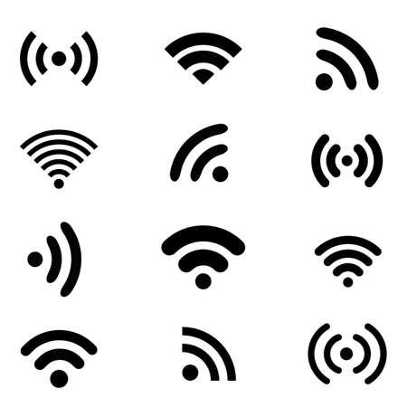 signal strenght: Wireless technology, black flat web icons set.