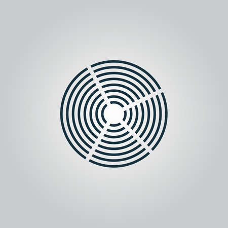 helical: Crop Circle. Flat web icon, sign or button isolated on grey background.