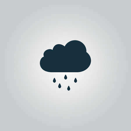 atmospheric: Cloud with rain. Flat web icon, sign or button isolated on grey background. Collection modern trend concept design style vector illustration symbol Illustration