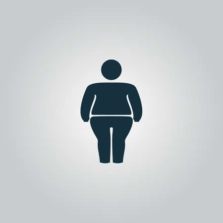 fatness: Overweight man symbol. Flat web icon, sign or button isolated on grey background. Collection modern trend concept design style vector illustration symbol Illustration