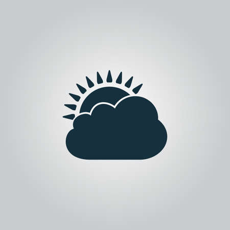 rooster and morning sun: Sun cloud icon. Flat web icon, sign or button isolated on grey background. Collection modern trend concept design style vector illustration symbol