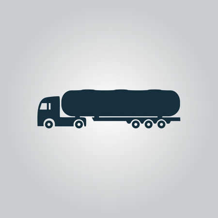 crisper: Tank car. Trailer Flat web icon, sign or button isolated on grey background. Collection modern trend concept design style vector illustration symbol Illustration