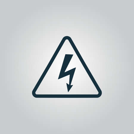 volte: High voltage Flat web icon, sign or button isolated on grey background. Collection modern trend concept design style vector illustration symbol Illustration