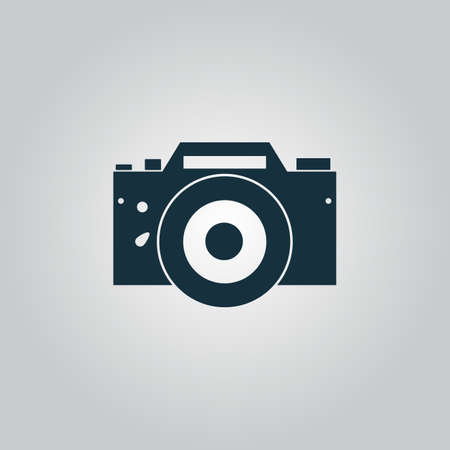 Digital photo camera Flat web icon, sign or button isolated on grey background. Collection modern trend concept design style vector illustration symbol