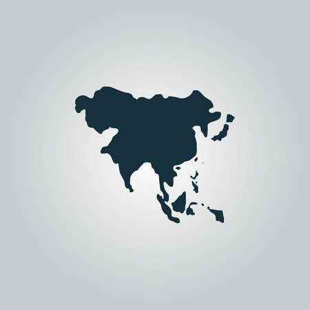 south east asia map: Asia map. Flat web icon, sign or button isolated on grey background. Collection modern trend concept design style vector illustration symbol