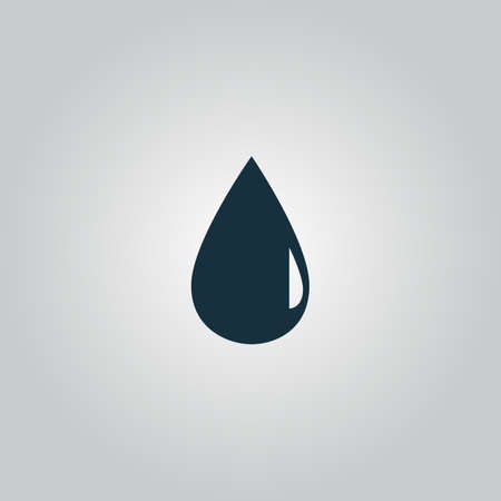 rain drops: water drop. Flat web icon, sign or button isolated on grey background. Collection modern trend concept design style vector illustration symbol Illustration