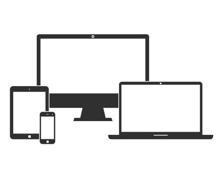 smartphone business: Electronic devices with white blank screens - computer monitor, smartphone, tablet, and laptop isolated on white background. Vector iilustration set of black icons Illustration