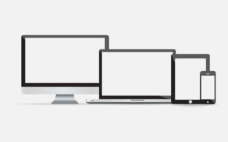 monitor de computadora: Los dispositivos electrónicos con pantallas en blanco - monitor de la computadora, teléfono inteligente, tableta, ordenador portátil y aislados sobre fondo blanco. Vector conjunto iilustration de iconos negros Vectores