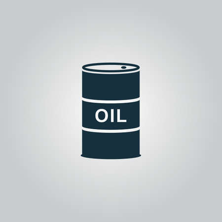 natural gas production: Barrels of oil. Flat web icon, sign or button isolated on grey background. Collection modern trend concept design style vector illustration symbol Illustration