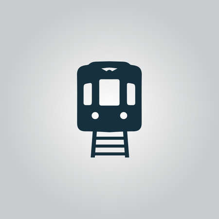 high speed railway: Train subway. Flat web icon, sign or button isolated on grey background. Collection modern trend concept design style vector illustration symbol