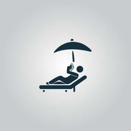chaise longue: Relax under an umbrella on a lounger. Flat web icon, sign or button isolated on grey background. Collection modern trend concept design style vector illustration symbol Illustration