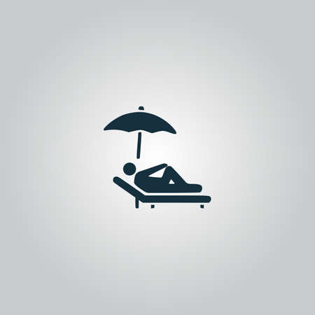 woman lying down: Relax under an umbrella on a lounger. Flat web icon, sign or button isolated on grey background. Collection modern trend concept design style vector illustration symbol Illustration