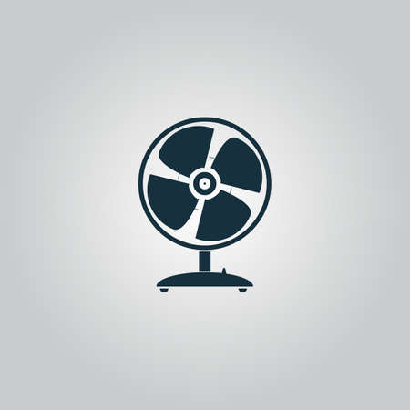 heatwave: Table fan. Flat web icon, sign or button isolated on grey background. Collection modern trend concept design style vector illustration symbol Illustration