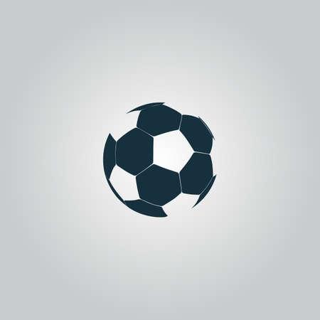 pelota de futbol: Bal�n de f�tbol - f�tbol. Icono de la web plana, firmar o bot�n aislado sobre fondo gris. Colecci�n tendencia concepto de estilo de dise�o moderno ilustraci�n vectorial s�mbolo Vectores