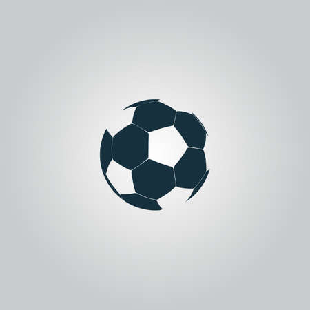 soccer club: Football ball - soccer. Flat web icon, sign or button isolated on grey background. Collection modern trend concept design style vector illustration symbol