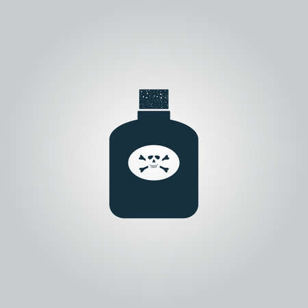 corrosive poison: Bottle of poison. Flat web icon, sign or button isolated on grey background. Collection modern trend concept design style vector illustration symbol