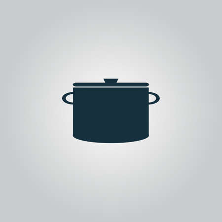 borscht: Kitchen pan. Flat web icon, sign or button isolated on grey background. Collection modern trend concept design style vector illustration symbol