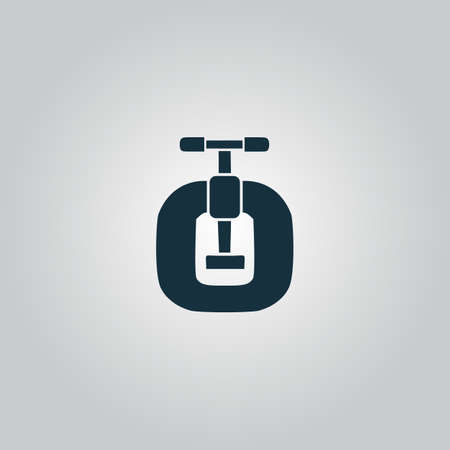 vice grip: Bench vices. Flat web icon, sign or button isolated on grey background. Collection modern trend concept design style vector illustration symbol Illustration