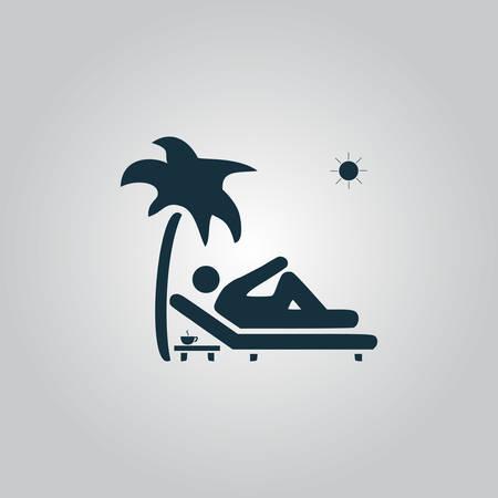 dormir: Hombre que se relaja en una tumbona bajo la palmera y la tabla de pie con una taza de café. Icono de la web plana, firmar o botón aislado sobre fondo gris. Colección tendencia concepto de estilo de diseño moderno ilustración vectorial símbolo