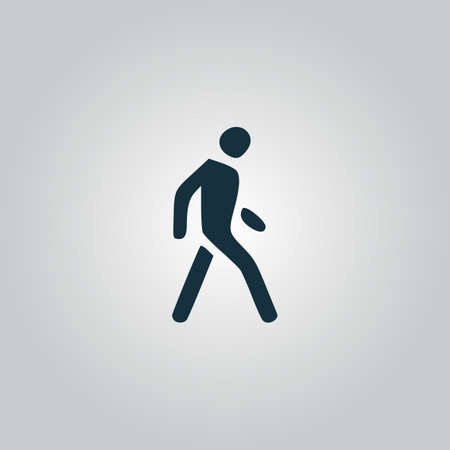 Pedestrian. Flat web icon, sign or button isolated on grey background. Collection modern trend concept design style vector illustration symbol Vector