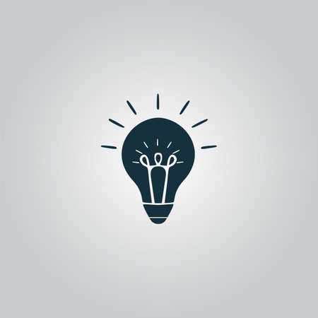 fluorescent lights: Light bulb. Flat web icon or sign isolated on grey background. Collection modern trend concept design style vector illustration symbol Illustration