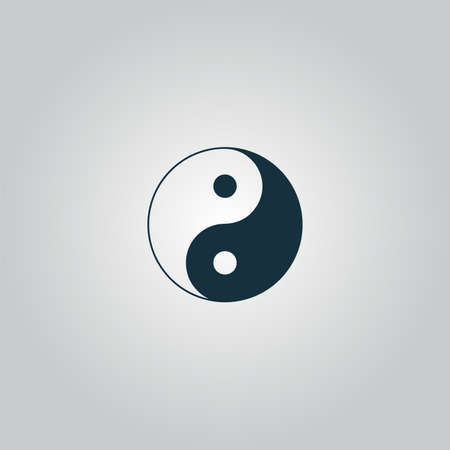 yang style: Ying yang symbol of harmony and balance. Flat web icon or sign isolated on grey background. Collection modern trend concept design style vector illustration pictogram Illustration