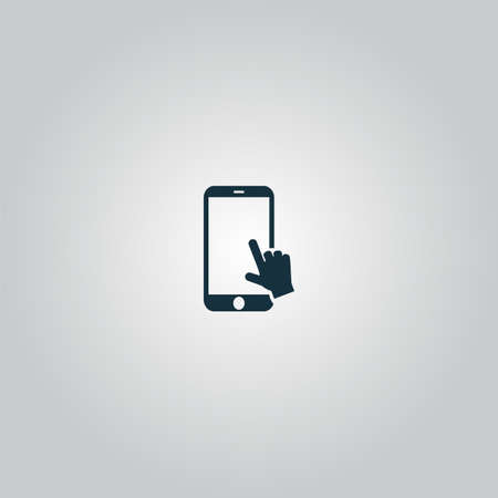 hand slide smartphone. Flat web icon or sign isolated on grey background. Collection modern trend concept design style vector illustration symbol