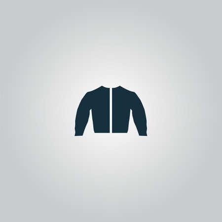 poliester: chaqueta deportiva. Web icono plano o signo aislado sobre fondo gris. Colecci�n tendencia concepto de estilo moderno dise�o ilustraci�n vectorial s�mbolo