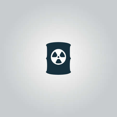 barrel radioactive waste: Container with radioactive waste. Flat web icon or sign isolated on grey background. Collection modern trend concept design style vector illustration symbol