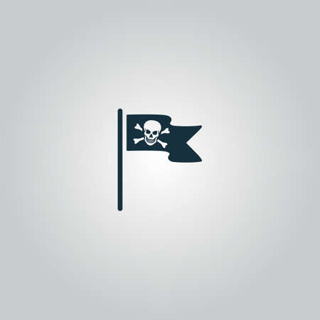 Jolly Roger or Skull and Cross bones Pirate flag. Flat web icon or sign isolated on grey background. Collection modern trend concept design style vector illustration symbol Ilustração