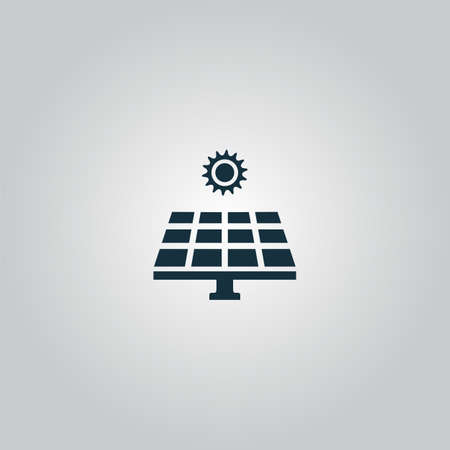 panels: Solar energy panel. Flat web icon or sign isolated on grey background. Collection modern trend concept design style vector illustration symbol Illustration
