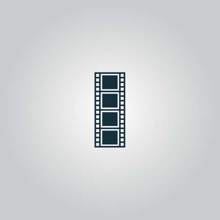 cinematographic: cinematographic film. Flat web icon or sign isolated on grey background. Collection modern trend concept design style vector illustration symbol