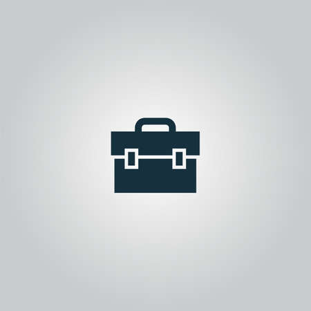 simbol: briefcase. Flat web icon or sign isolated on grey background. Collection modern trend concept design style vector illustration symbol