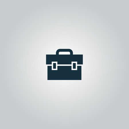 simbol: valigetta. Piatto web icona o segno isolato su sfondo grigio. Collezione moderno concetto di tendenza di design simbolo stile illustrazione vettoriale