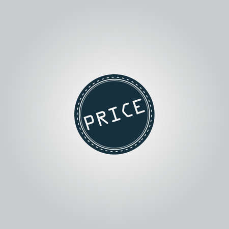 price uncertainty: Price Badge Label or Sticker. Flat web icon or sign isolated on grey background. Collection modern trend concept design style vector illustration symbol Illustration