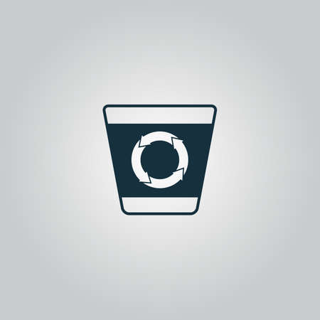 refuse bin: Recycle bin. Flat web icon or sign isolated on grey background. Collection modern trend concept design style vector illustration symbol