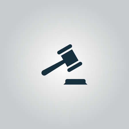 court judge: Judge gavel. Flat web icon or sign isolated on grey background. Collection modern trend concept design style vector illustration symbol Illustration