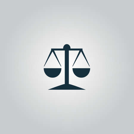 acquittal: Mechanical scales. Flat web icon or sign isolated on grey background. Collection modern trend concept design style vector illustration symbol