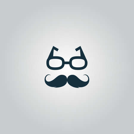 burly: Nerd glasses and mustaches. Flat web icon or sign isolated on grey background. Collection modern trend concept design style vector illustration symbol