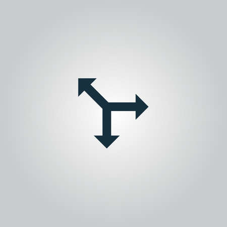 Three-way direction arrow. Flat web icon or sign isolated on grey background. Collection modern trend concept design style vector illustration symbol