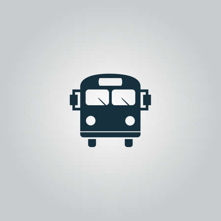 back view student: School Bus. Flat web icon or sign isolated on grey background. Collection modern trend concept design style vector illustration symbol