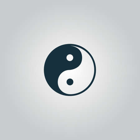 taoism: Ying-yang icon of harmony and balance. Flat web sign isolated on grey background. Collection modern trend concept design style vector illustration symbol