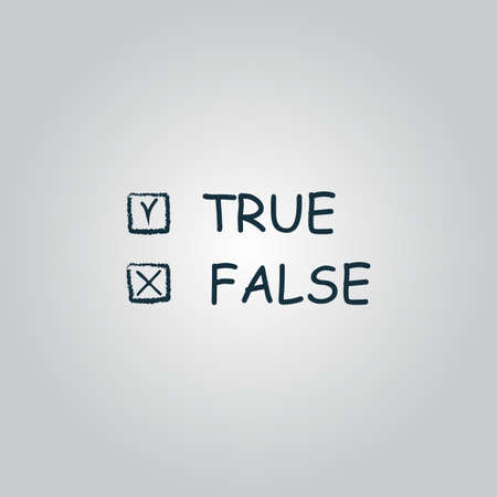 truthful: True and False. Flat web icon or sign isolated on grey background. Collection modern trend concept design style vector illustration symbol