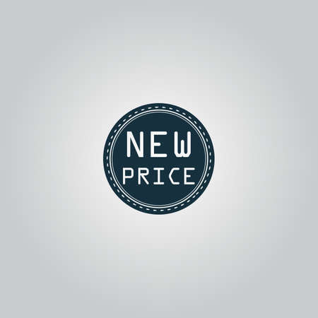 price uncertainty: New Price Badge, Label or Sticker. Flat web icon or sign isolated on grey background. Collection modern trend concept design style vector illustration symbol
