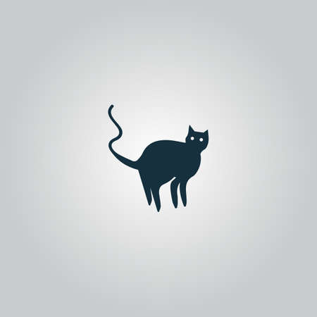 grey cat: Evil Cat silhouette. Flat web icon or sign isolated on grey background. Collection modern trend concept design style vector illustration symbol